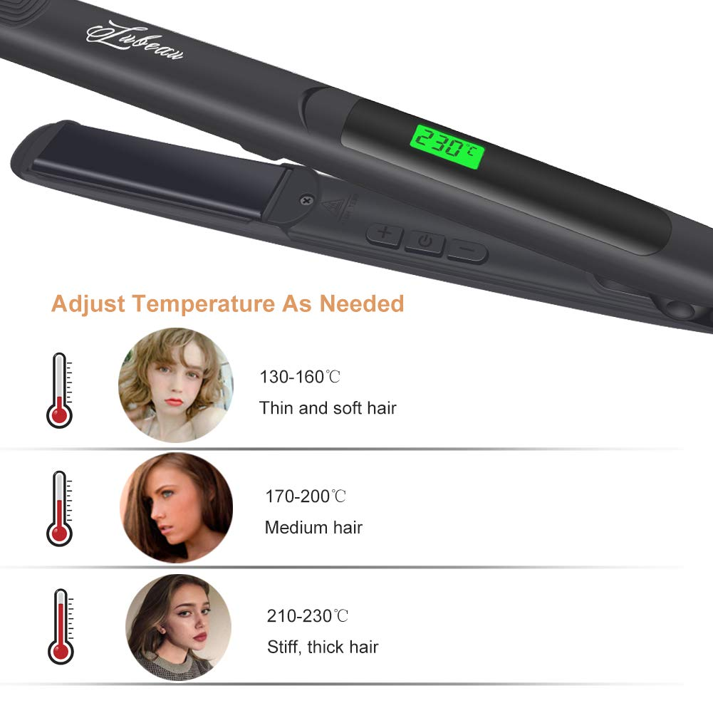 Megadream Hair Straightener, Flat Iron for Hair Styling 2 in 1 Straighten & Curl Tourmaline Ceramic Hair Straightener Brush Straight Hair Comb with Adjustable Temperature, LCD Display
