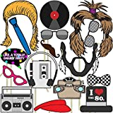 80s Photo Props (32 Pieces) for Photo Booths, Parties and More! Our Photo Prop Party Favors are Pre-Made (Not DIY) for Your Convenience!
