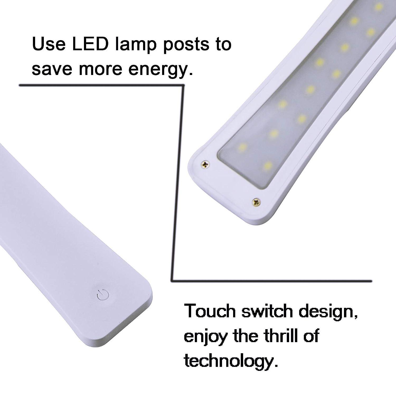 LUCKY OLEAN Trips Lampe de table pliante portative blanc Lampe de bureau LED dapprentissage de travail lampe de chevet rechargeable sans fil Dimmable tactile de lecture de soins des yeux