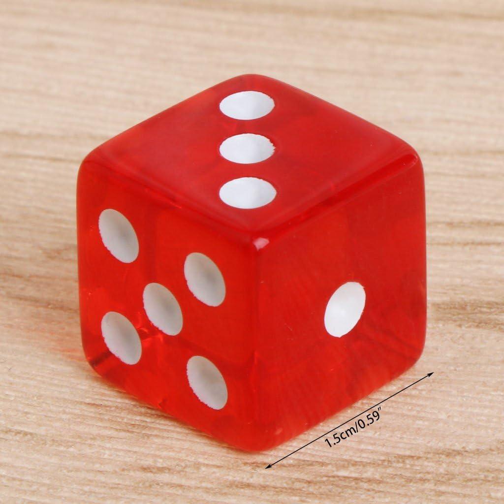 Cuigu 10 St/ücke W/ürfel Sechs Seiten 15mm Transparente W/ürfel Runde Ecke Tragbaren Tisch Spielen Spiel Spielzeug