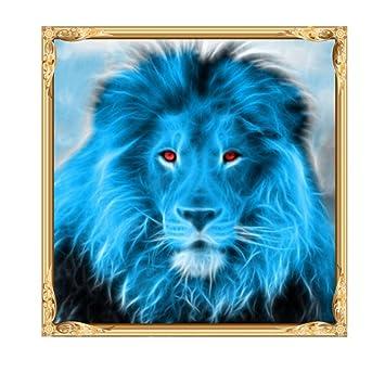 sunnymi DIY 5d Diamant Painting Voll, Blau Löwe Muster mit Digitale ...