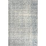 9' x 12' Light Gray and Teal Oland Hand Tufted Wool Area Throw Rug
