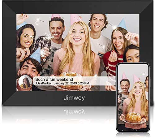 Jimwey WiFi Digital Picture Frame, 10.1 Inch 16GB Smart Digital Picture Frame with HD IPS Touch Screen, Portrait or Landscape Stand, Share Photos Small Videos from Anywhere via App