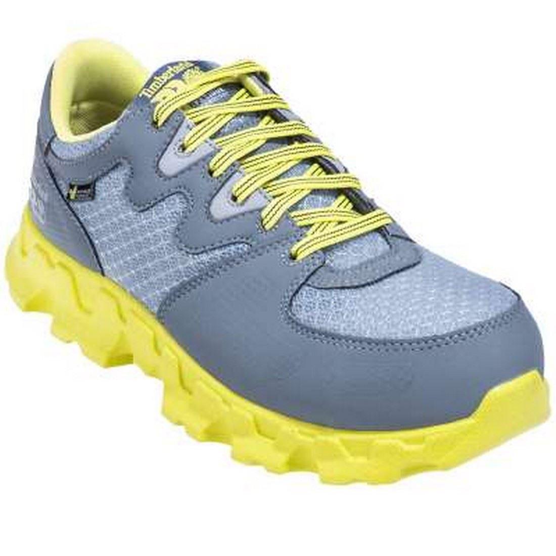 Timberland PRO Women's Powertrain Alloy Toe EH W Industrial Shoe,Grey/High Vis Green Microfiber,6 M US