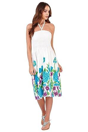 Pistachio Womens Tropical Print 3 Way Dress Ladies New Halter Neck Bandeau Skirt