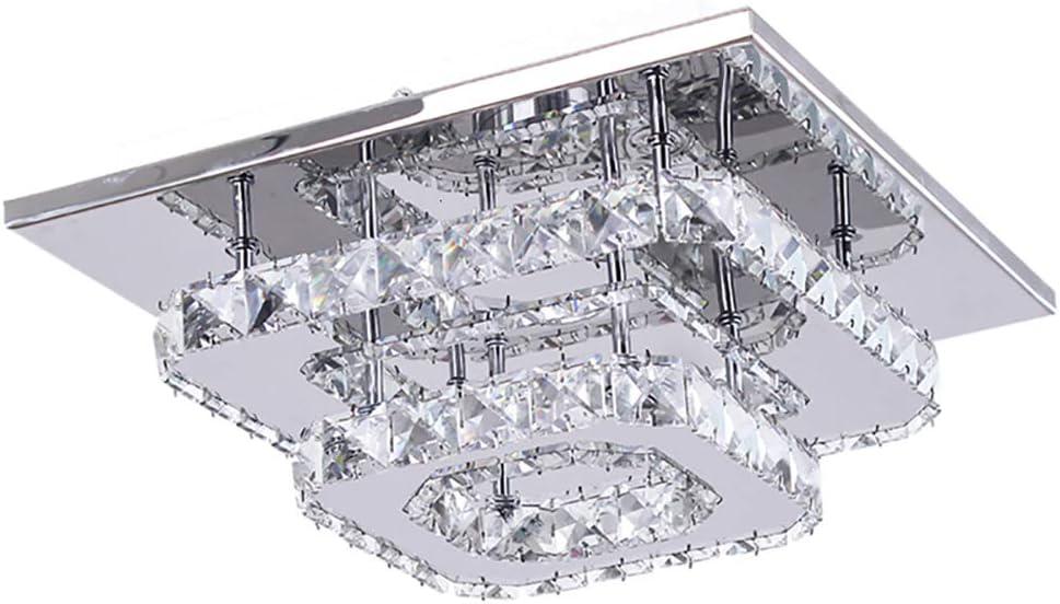 LED de luz de techo,Lámparas de cristal, 30cm 36W Acero inoxidable Cristal Lámpara Flush montaje en el techo para el dormitorio Comedor Pasillo (blanca fría)