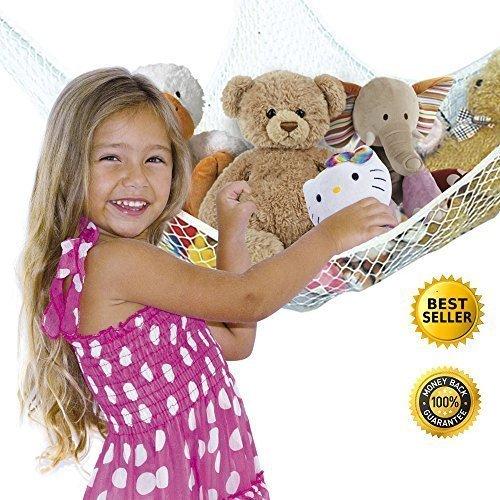 Toy Organizer Net Hammock for Stuffed Animals Jumbo- Storage Mesh Solution White- Hardware Included