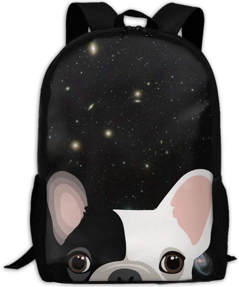Laptop Backpack French Bulldog Printed High School Bookbag Casual Travel Daypack