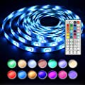 Led Strip Light 5M 16.4 Ft Waterproof 5050 RGB Led strip lighting 150LEDs Flexible Color Changing Full Kit with 44 Keys IR Remote Controller , Control Box ,12v 2A Power Supply