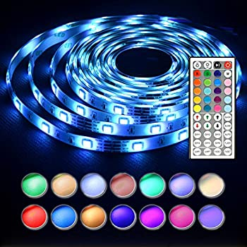 Amazon led strip lights with remote 5m 164 ft 5050 rgb len led strip lights 164 feet waterproof 150leds 5050 rgb light strip complete kit mozeypictures Choice Image
