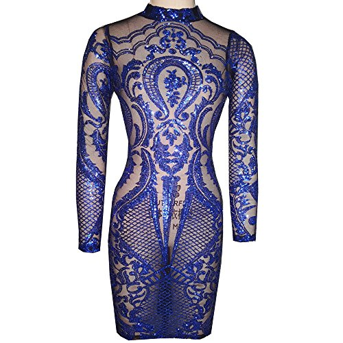 VIVOSKY Women Sequin Dress Geometric Tattoo Bandage Bodycon Club Dresses