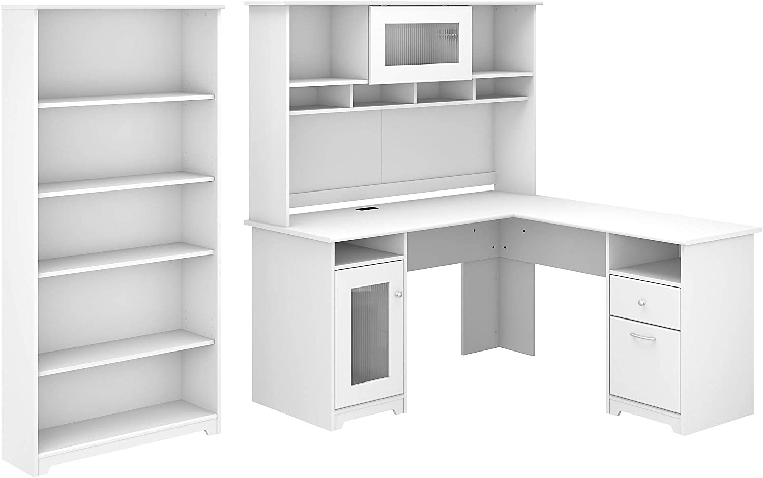 Bush Furniture Cabot 32W L Shaped Computer Desk with Hutch and 32 Shelf  Bookcase, White