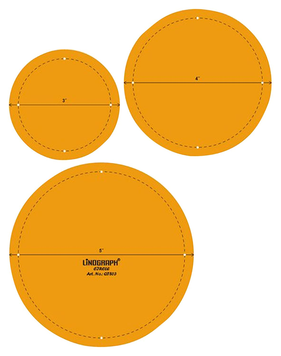 Circle Quilting Patchwork Shape Scale Template Set of 3 Pcs LINOGRAPH