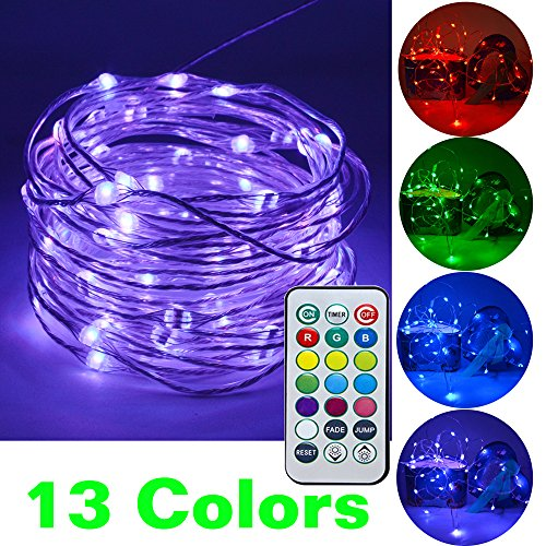 HAHOME Christmas String Lights, 33Ft 100 LEDs Waterproof Color Changeable String Lights with Power Adapter and Remote for Indoor and Ourdoor Use
