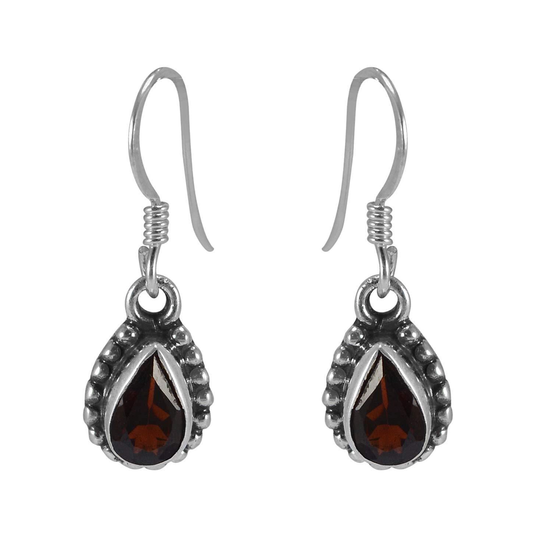 Silvestoo Jaipur Red Garnet 925 Sterling Silver Dangle New Earring PG-155721