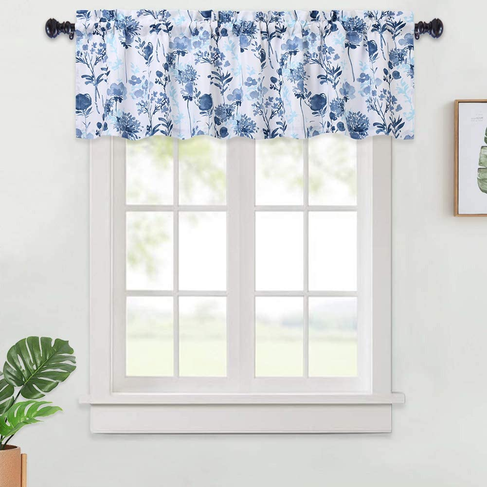 Haperlare Sheer Valance Curtains for Kitchen Dusty Blue Leaves Embroidered Linen Textured Look Rod Pocket Valance Curtains for Windows Vintage Floral Kitchen Cafe Curtains 52 x 15 One Panel