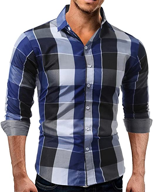 Nanquan Men Casual Button Down Long Sleeve Plaid Print Lapel Slim Fit Shirt Top