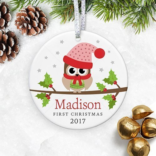 personalized babys 1st christmas ornament 2018 my first christmas baby girl owl gift for