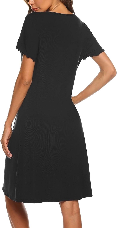 Ekouaer Women's Nightshirt Short Sleeve Button Down Nightgown V-Neck Sleepwear Pajama Dress at  Women's Clothing store