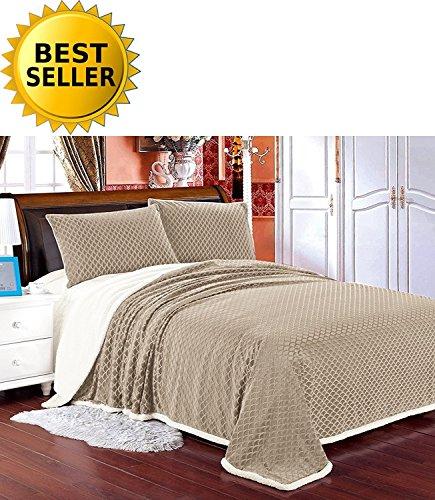 Elegant Comfort Luxury Micro-Sherpa Ultra Plush Warm Heavy-Weight Wave Pattern Blanket, Full/Queen, ()