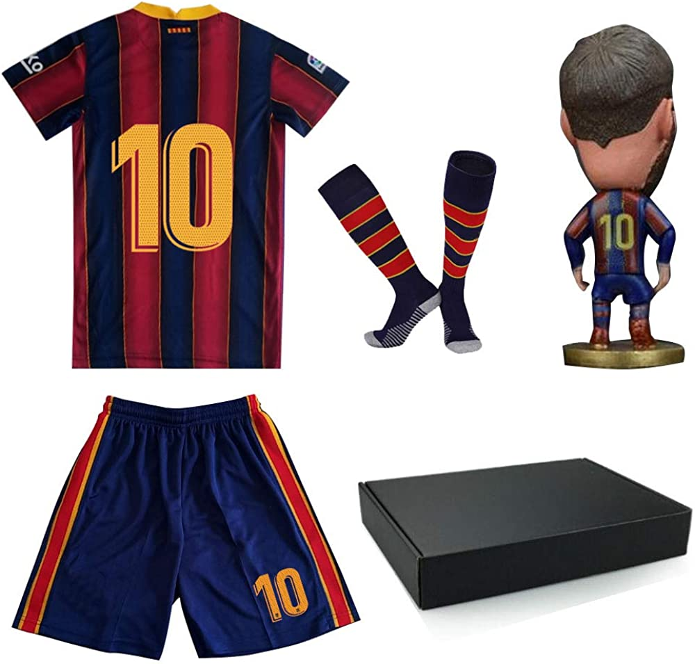 New #10 Soccer Uniform for Kids Youth Size Jersey with Doll and Sock Boys and Girls Soccer Shirt Gift Set