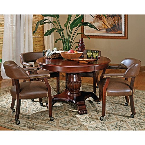 Steve Silver 5 Piece Tournament Dining Game Table Set with Caster Chairs - Cherry