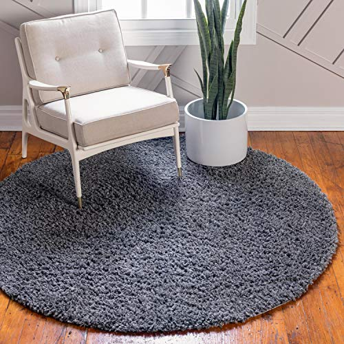 (Unique Loom Davos Shag Collection Contemporary Soft Cozy Solid Shag Peppercorn Round Rug (5' 0 x 5' 0))