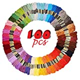 Arts & Crafts : iShyan Embroidery Floss Thread 100 Skeins 100 Colors with Color Numbers for Cross Stitch Crochet Friendship Bracelets Handcrafts 8.75 Yards Long per Skein with 6 Strands