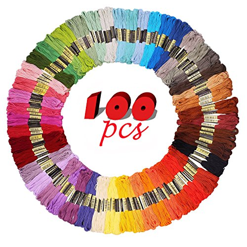 iShyan Embroidery Floss Thread 100 Skeins 100 Colors with Co