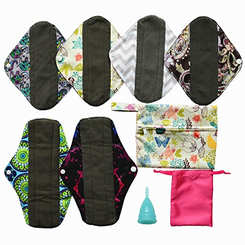 8 Pieces Menstrual Set 6 of Cloth Pads + 1 of Moon Cup + 1 of Mini Wet Bag (SMALL for women who haven't previously given birth vaginally., Blue) ()