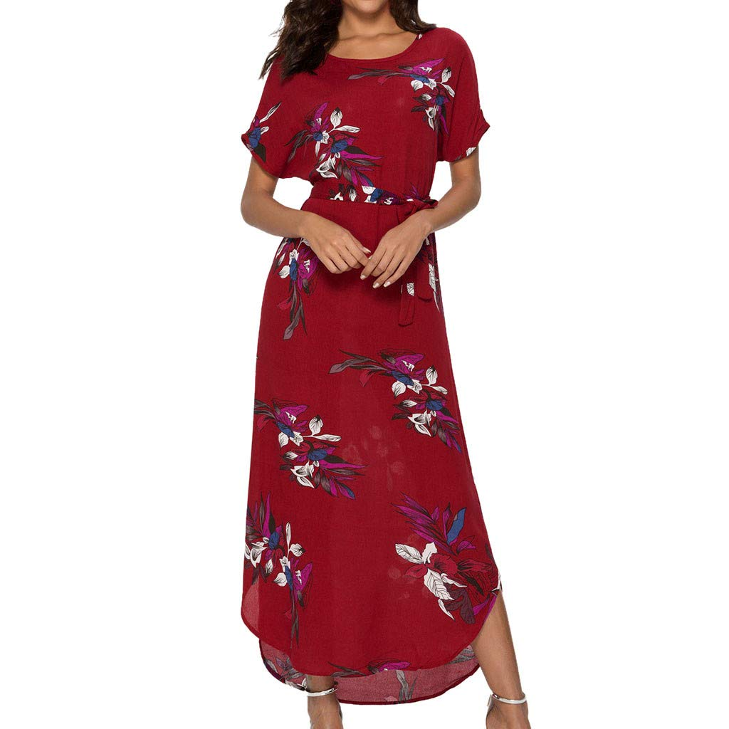 Floral Print Maxi Dress, Women Summer Holiday Plain Dress Short Sleeve O-Neck Lace up Casual Loose Long Dress (M, Red)