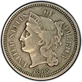 1865 Nickel 3-Cent Piece ~~ Grades VF/30+