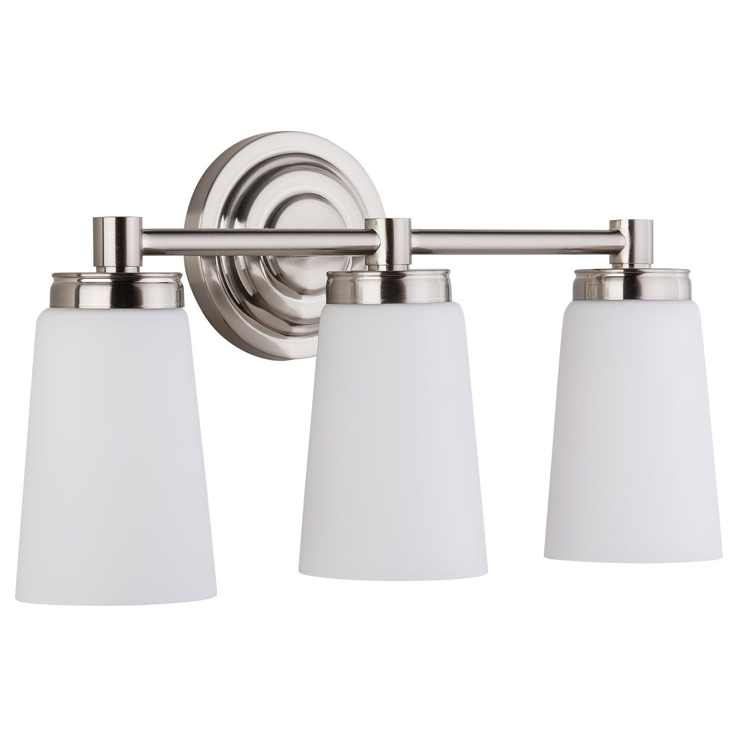 Sheffield 3 Light Bathroom Vanity Brushed Nickel w Frosted Glass Linea di Liara LL-WL260-3-BN