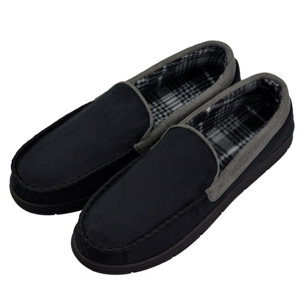 VLLY Men's Pile Lined Microsuede Bedroom Outdoor Slip On Moccasin Slippers US 11-12 Black (FBA)