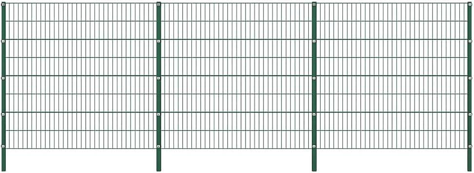 vidaXL Panel de Valla con Postes de Hierro Accesorios de Jardín Ocultación Privacidad Diseño Simple Funcional Resistente Intemperie Verde 5.1x1.6m: Amazon.es: Bricolaje y herramientas