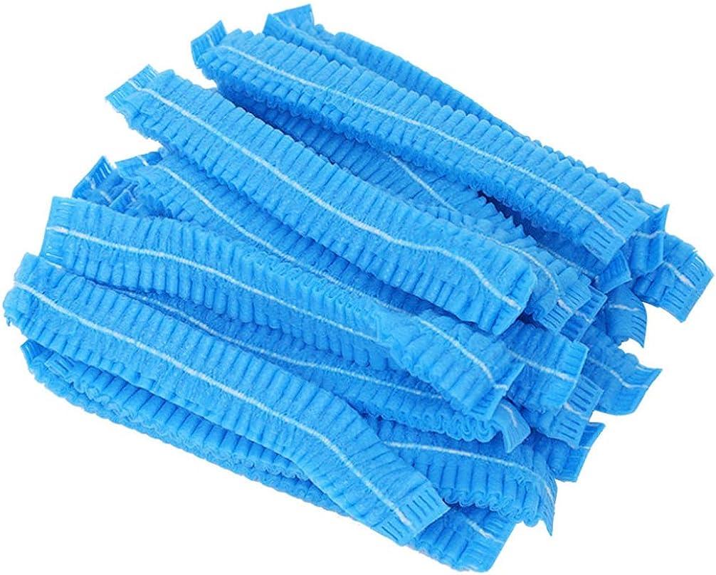 KESYOO 100PCS Disposable Non-Woven Cap Dustproof Mop Mob Caps for Food Baking Makeup (Blue)