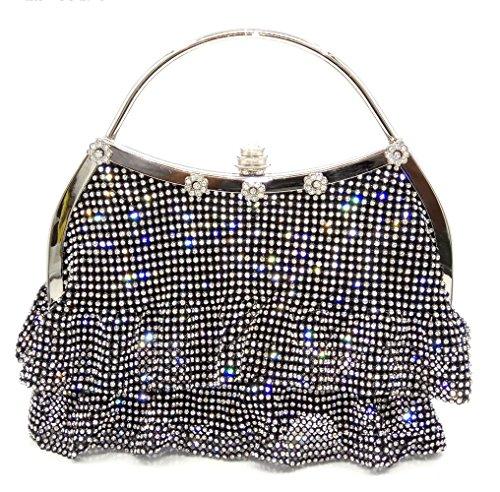 XCF WLQ Dinner Bag - Western Soft Pack - Bolso de Noche de Diamantes - Nupcial - Embrague de Mano,Negro,Bolso negro