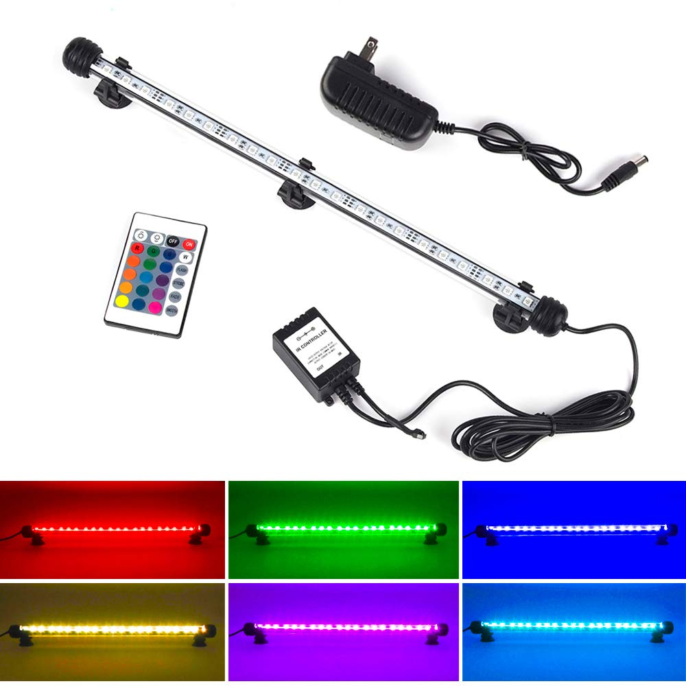 LED Aquarium Light, Smiful Fish Tank Light Submersible Underwater Crystal Glass LEDs Lights 15 Inches (15''-Colorful) by S SMIFUL
