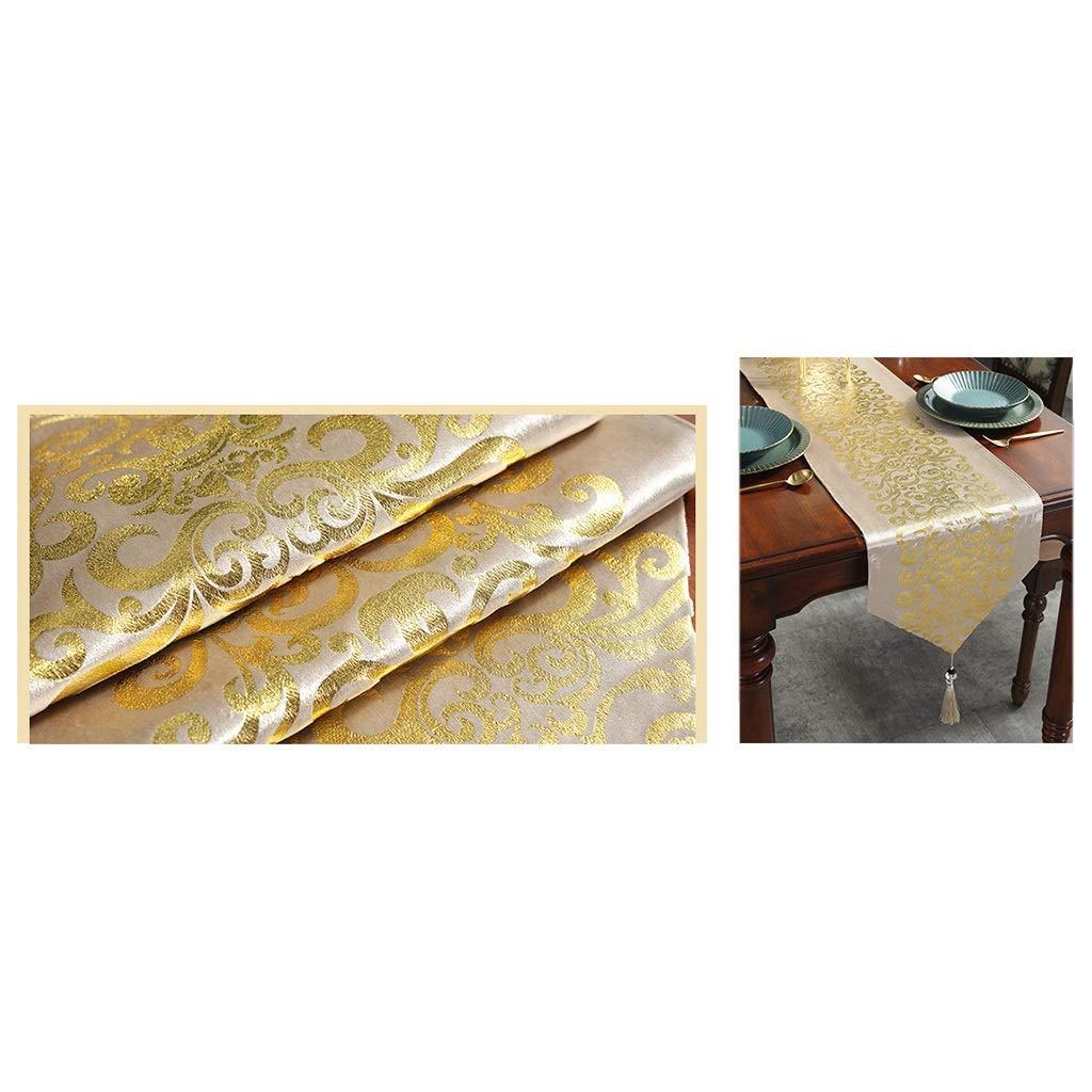 Color : Black, Size : 33 * 160cm 5 Farben WENLI Table Runner Tischl/äufer Gestickten Blumen Tischl/äufer Antique Gold Weihnachten Tischl/äufer Mit Quasten Tischl/äufer Stuhl Hochzeit Tischdekoration