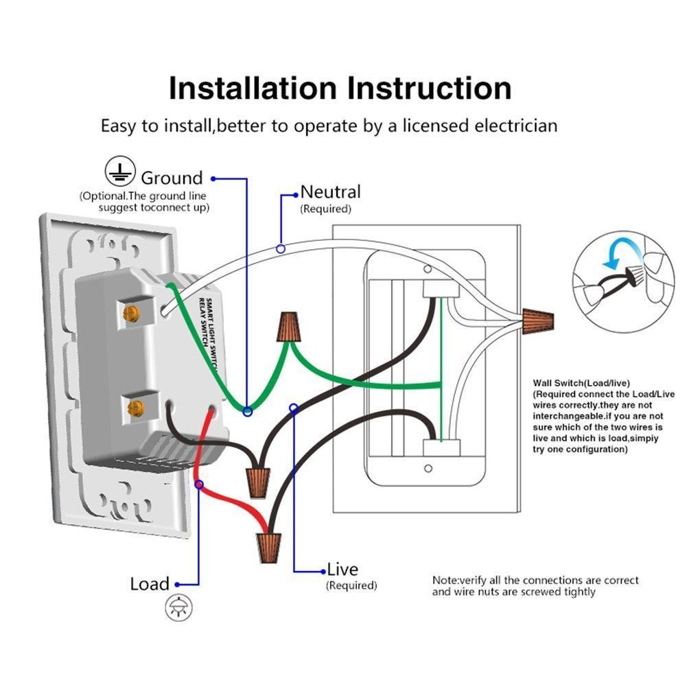Smart Wifi Switch Wireless Smartphone Remote Control Wall Light Wiring Diagram Two Lights Compatible With Alexa Google Home Android