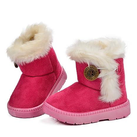 da62d2e8e62ca Sunny Baby Bambini con la zeppa di pelliccia Scarpe invernali di pelle  Stivali da neve da bambina ...