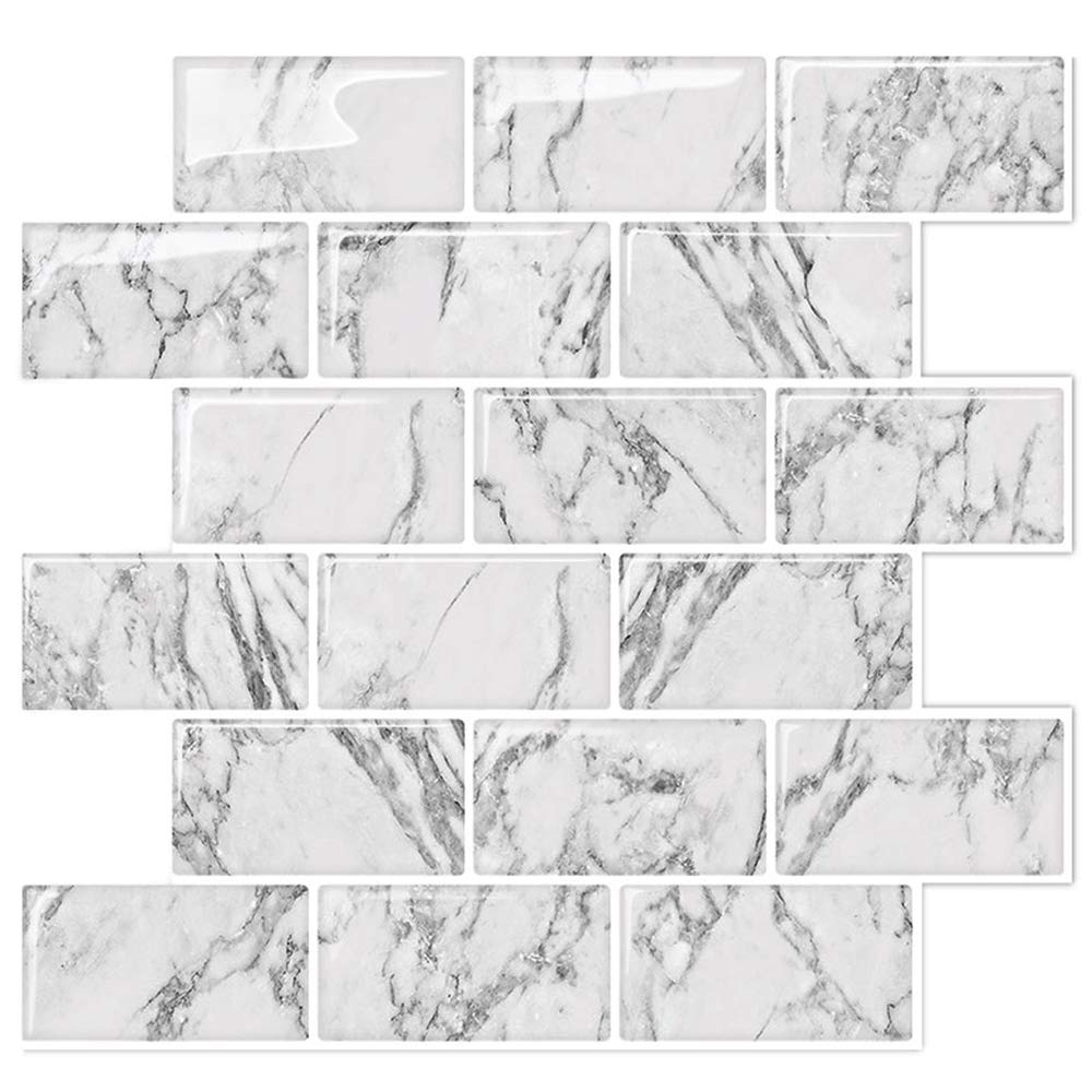 STICKGOO Marble Look Peel and Stick Backsplash Subway Tiles, Stick on Wall Tile for Kitchen&Shower Backsplash (Pack of 5, Thicker Design)