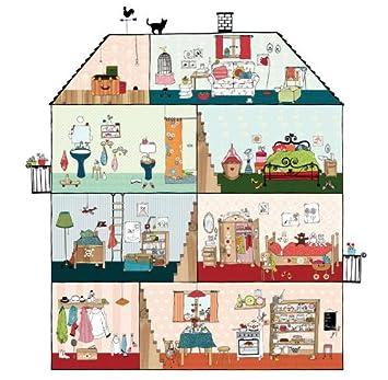 P120701 6 Vliestapete Kinder Puppenhaus Gezeichnet Bunt