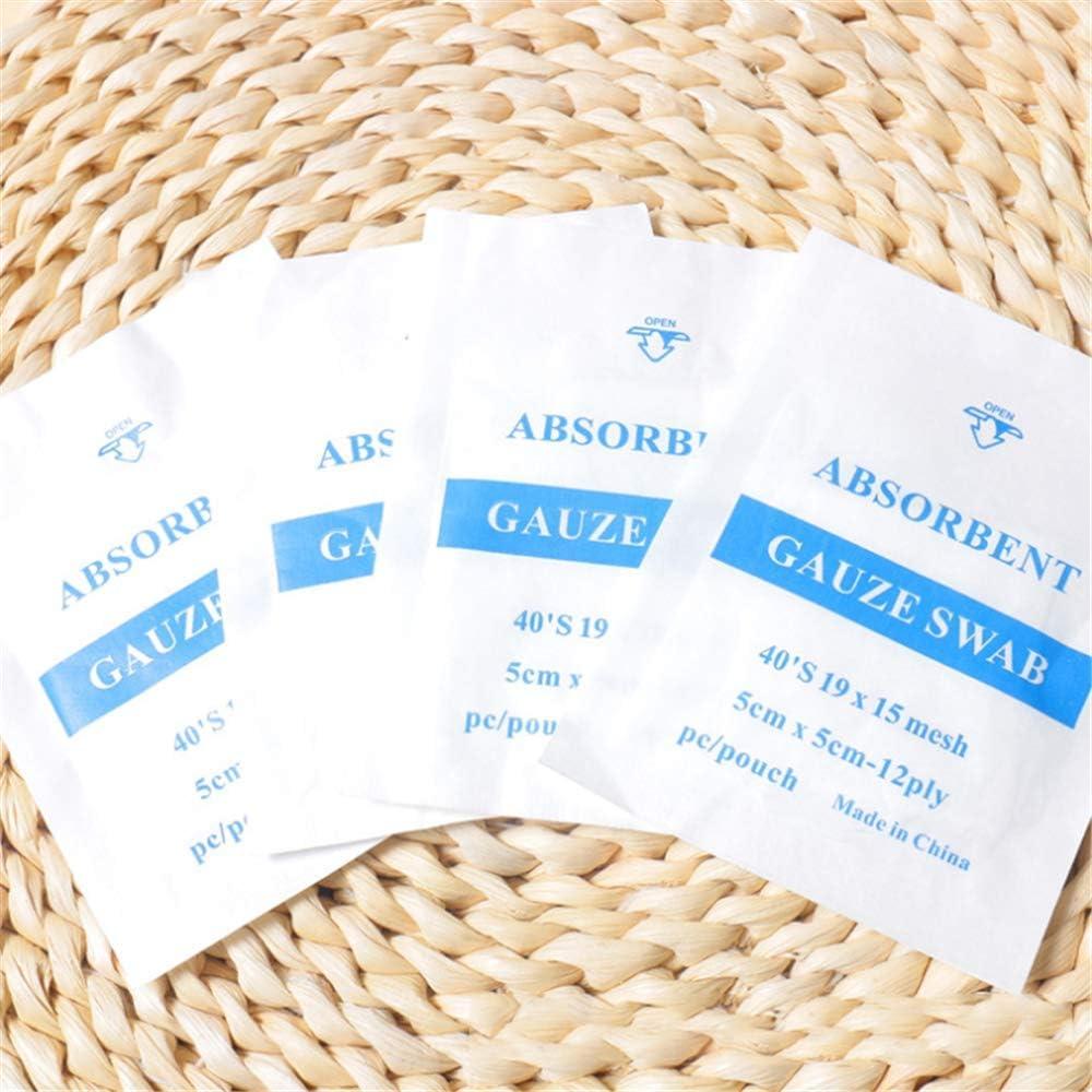 FAEIO Almohadilla de Gasa médica, 100% algodón Impermeable Primeros Auxilios apósito Almohadillas estériles Estiramiento Transpirable (5 * 5 cm)