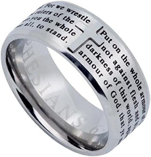 North Arrow Shop Spinner Chain Band Isaiah 54:17 Armor of God Black Stainless Steel Ring