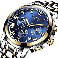 Men's Watches Classic Steel Band Quartz Analog Wrist Watch with Chronograph Waterproof Date for Man Blue