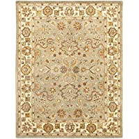 Safavieh Heritage Collection HG959A Handcrafted Traditional Oriental Light Green and Beige Wool Area Rug (96 x 136)