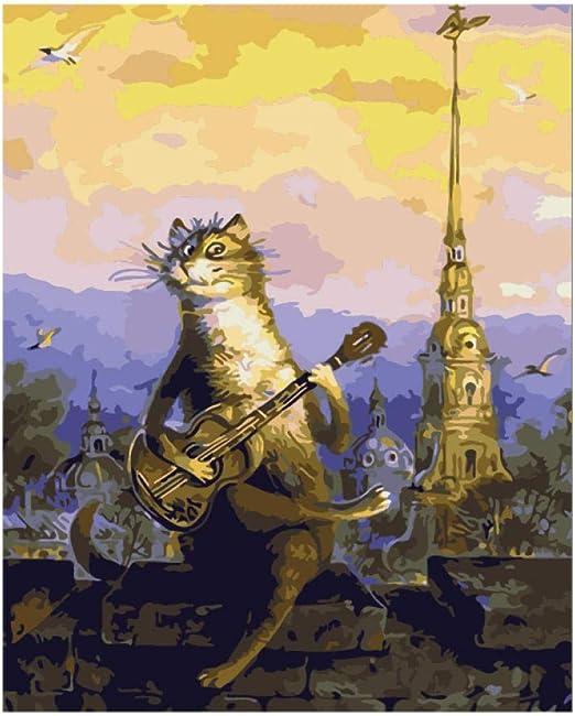 Pintura al óleo digital DIY Canvas Cat tocando la guitarra Street ...