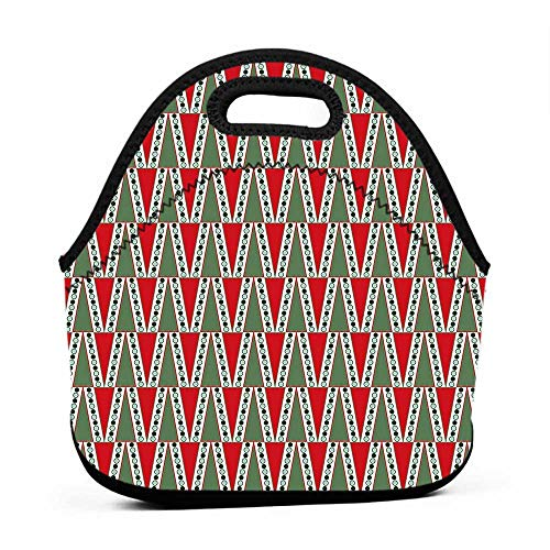 Large Size Reusable Lunch Handbag Geometric,Traditional Christmas Motifs with Polka Dots and Abstract Tree,Reseda and Almond Green Red,hard top lunch bag for men