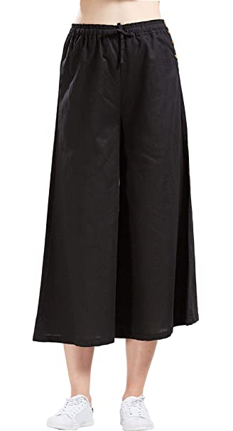 0466f4f081 utcoco Women's Summer Elastic Waist Loose Fit Cropped Plazzo Linen Beach  Pants (Small, Black